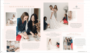 Multiple images of the wedding planners from Keestone Events smiling and helping a bride in her dress, of them at work for a photo shoot for the Brides of North Texas Magazine