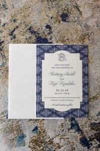 Blue and white wedding stationery suite for the couple
