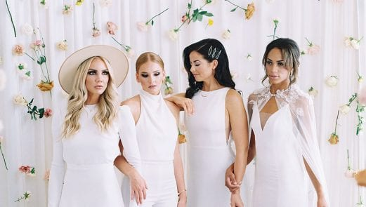 Four women in white gowns in a shoot planned by Keestone Events