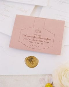 Blush and white wedding stationery suite with gold seal