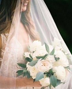 Bride under a veil holding her bouquet