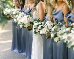 Bride and bridesmaids carrying their wedding bouquets