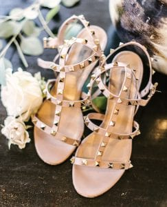 Strappy, spiky, sandals that the bride will be wearing on her wedding day