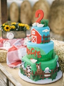 A three tier 2nd birthday cake for Gracie, with farm animals decorating the sides of the cake