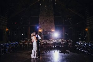 Bride and groom having their private last dance in their reception hall