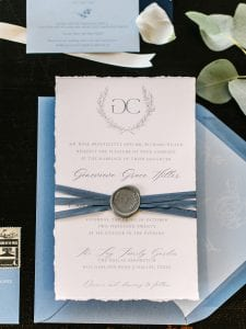 Wedding stationery suite made from handtorn paper with dusty blue envelopes