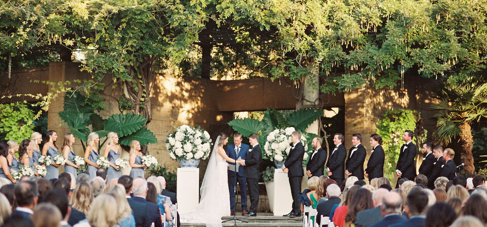 Wedding ceremony in a garden setting